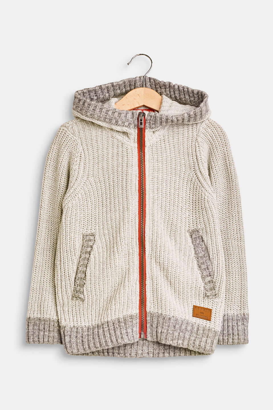Esprit - Hooded rib knit cardigan, cotton