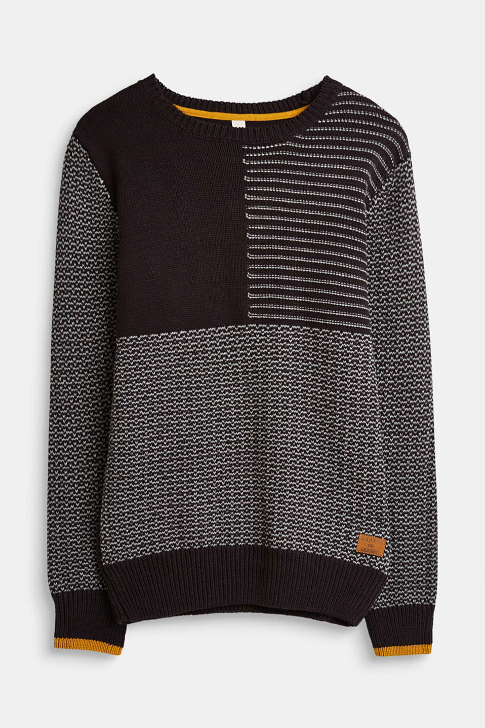 Esprit - Jumper with a mix of textures, 100% cotton