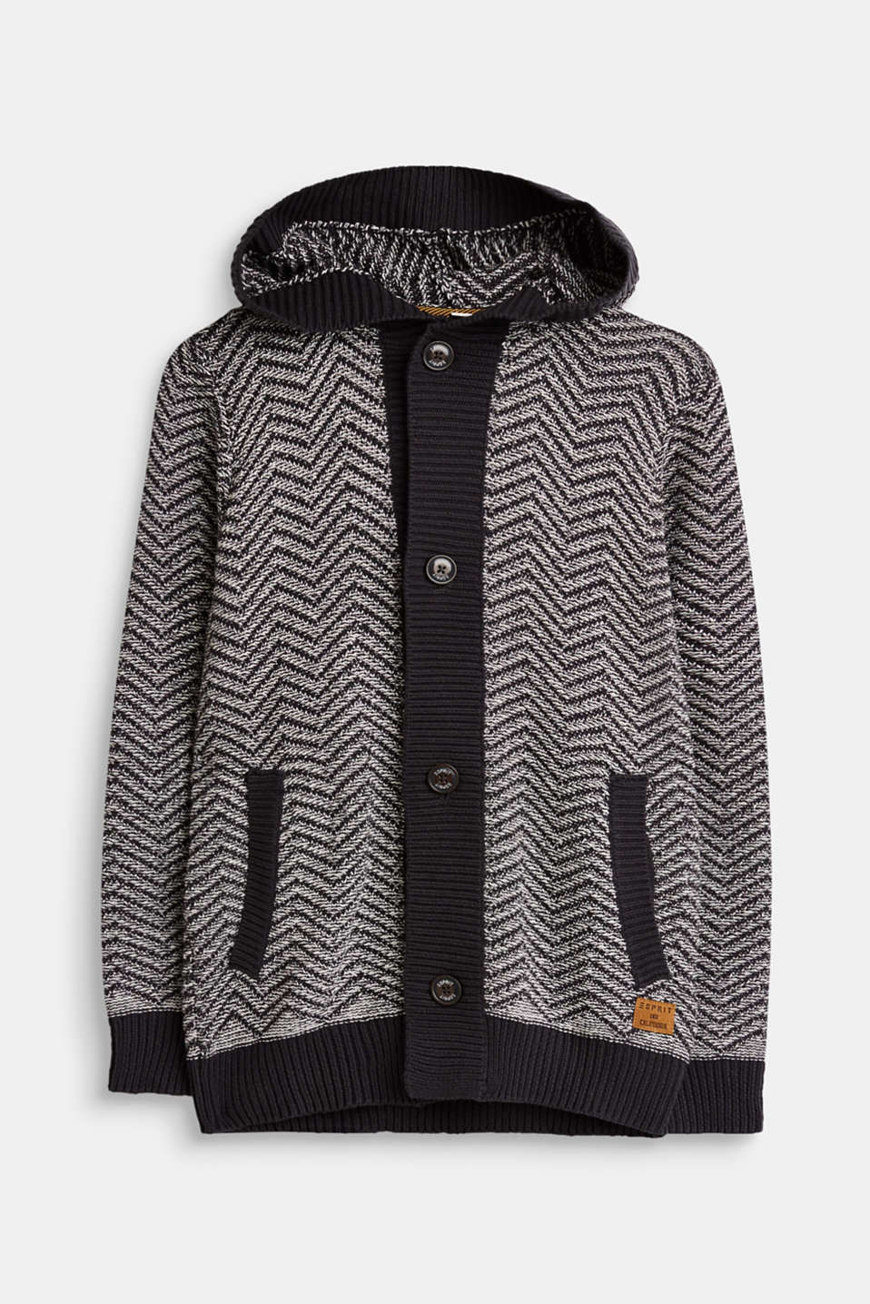 Esprit - Textured, hooded cardigan made of cotton