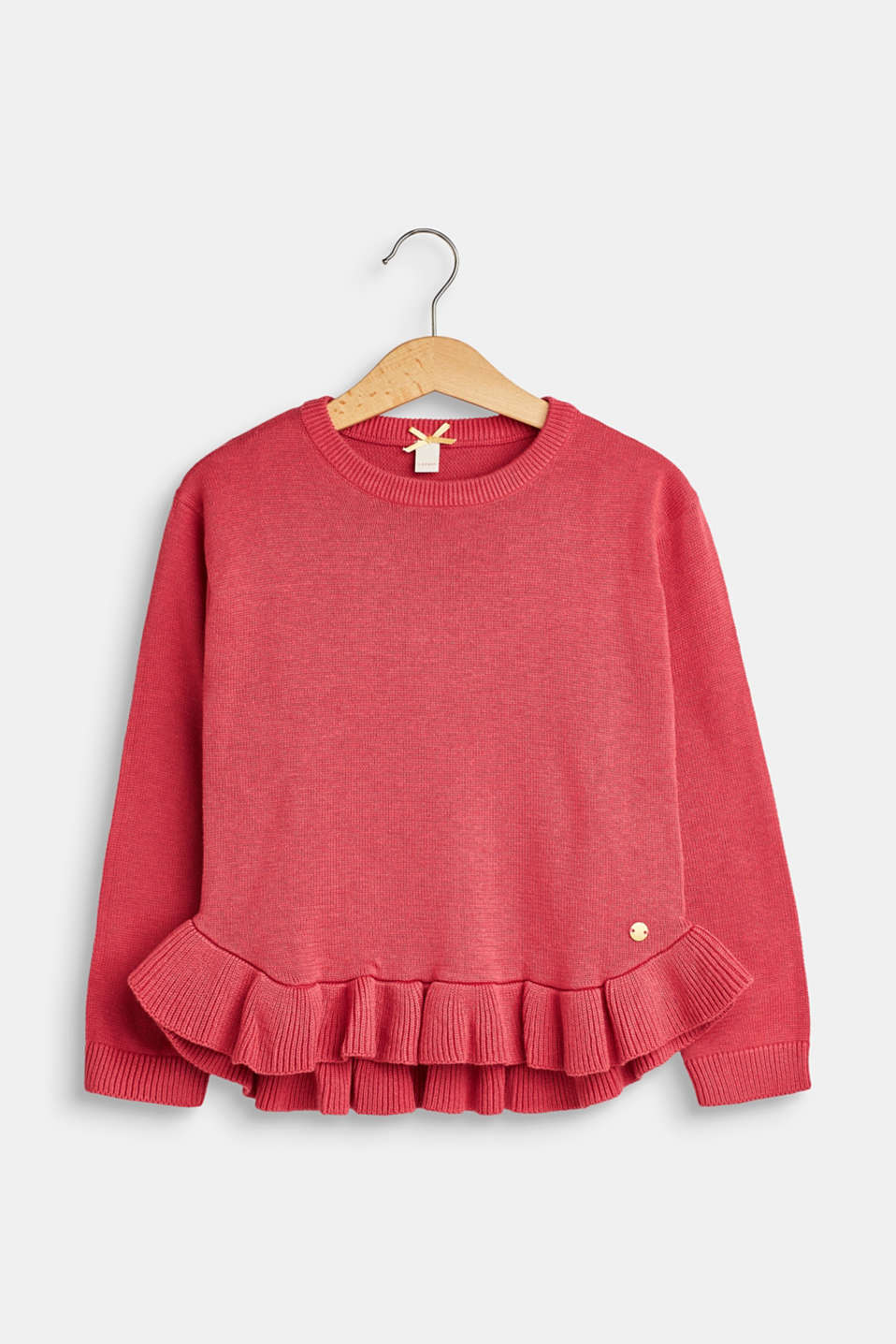 Esprit - Fine knit jumper with a frilled hem