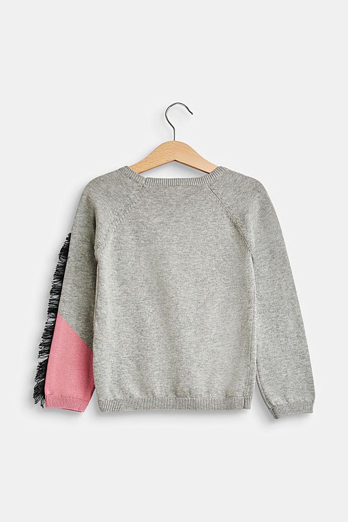 Pullover mit Einhorn-Intarsie, 100% Baumwolle, MID HEATHER GR, detail image number 1