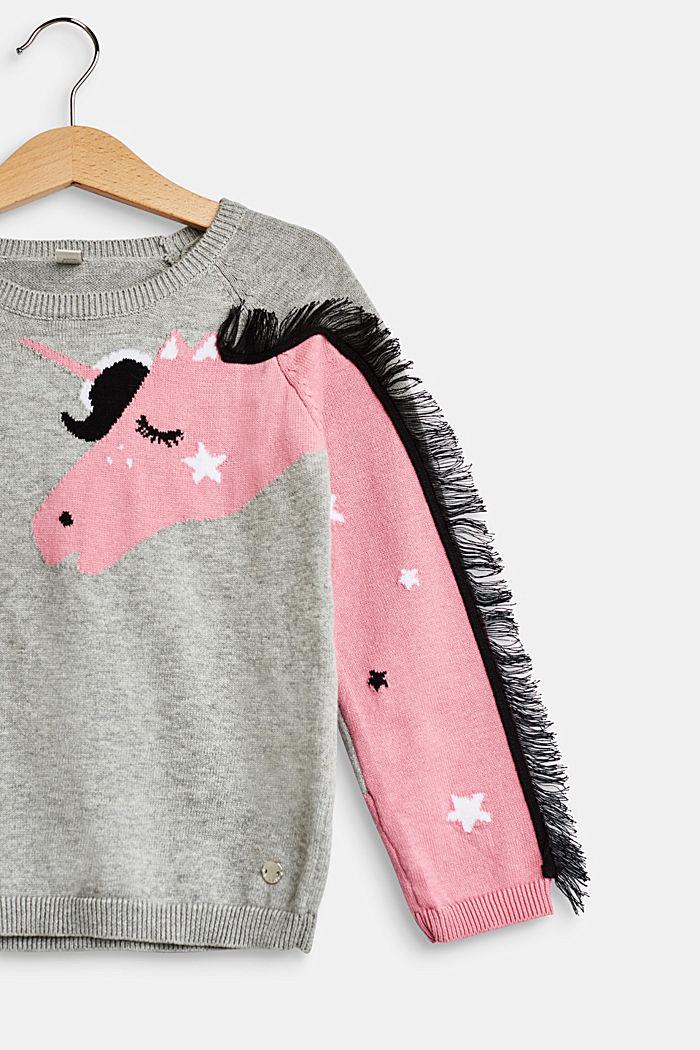Pullover mit Einhorn-Intarsie, 100% Baumwolle, MID HEATHER GR, detail image number 3