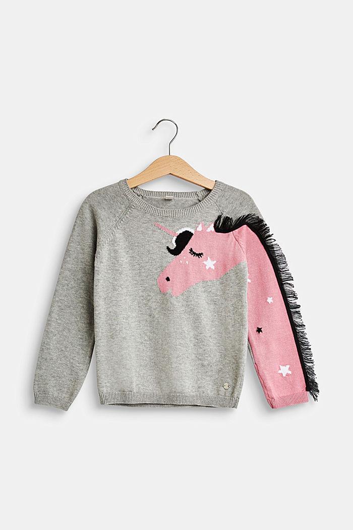 Pullover mit Einhorn-Intarsie, 100% Baumwolle, MID HEATHER GR, detail image number 0
