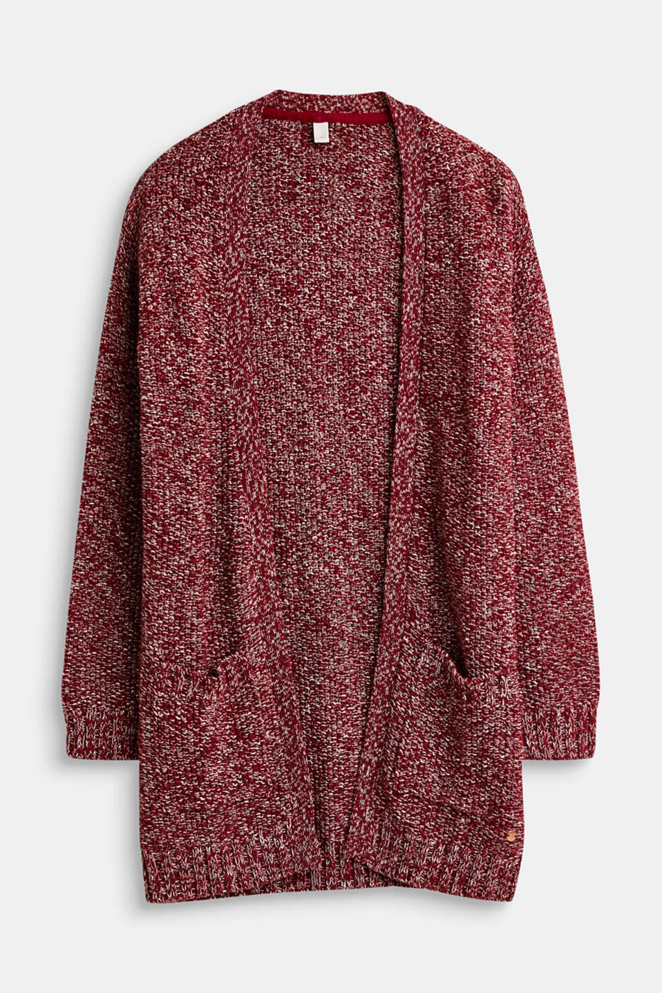 Esprit - Melange textured cardigan, 100% cotton