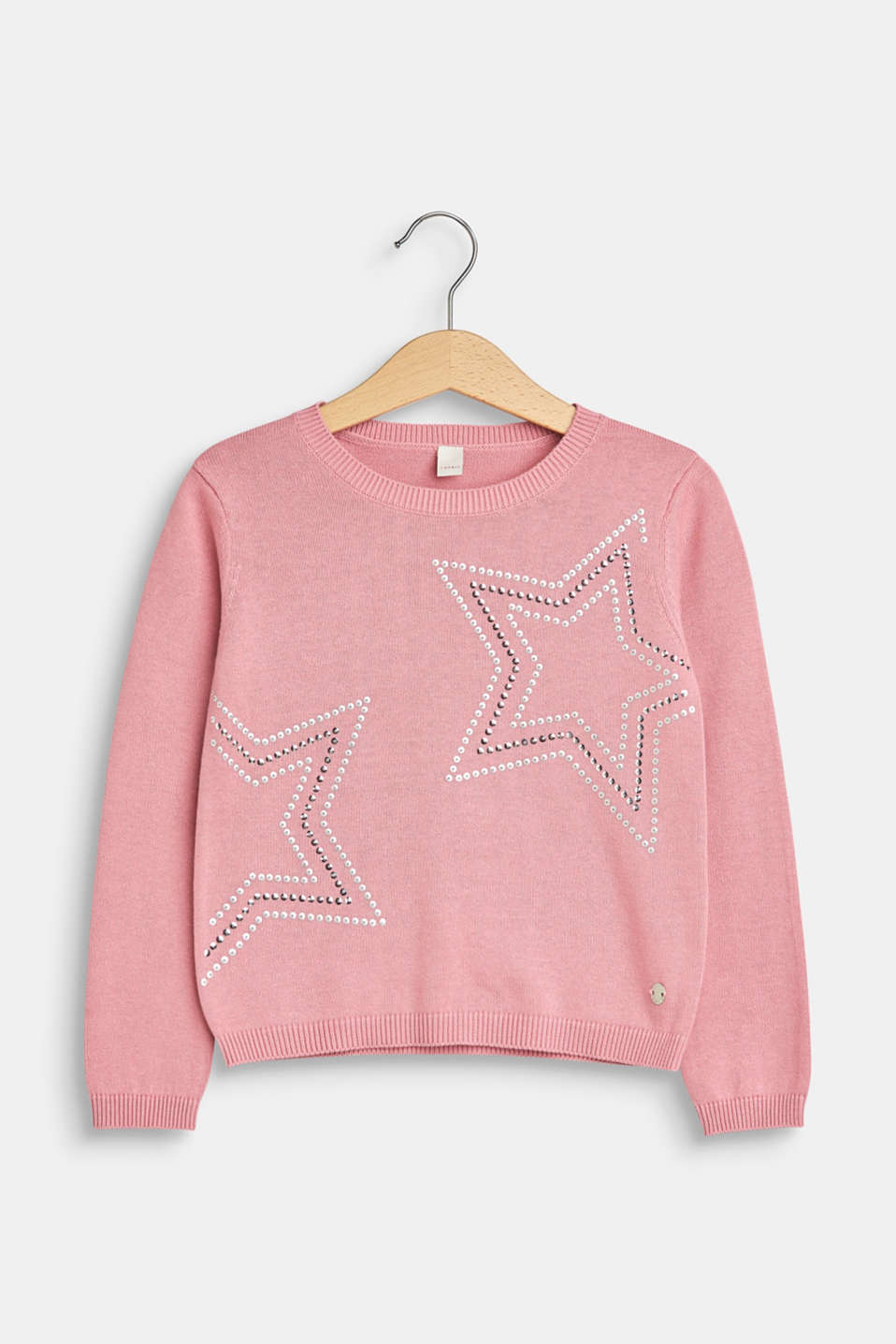 Esprit - Knitted jumper with decoration stars, 100% cotton