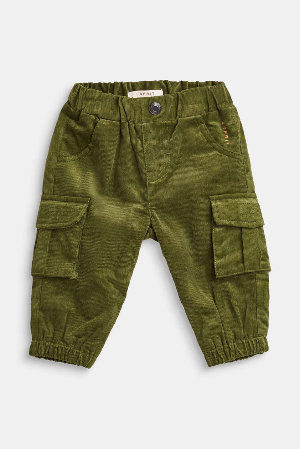 Esprit - Needlecord cargo trousers, 100% cotton