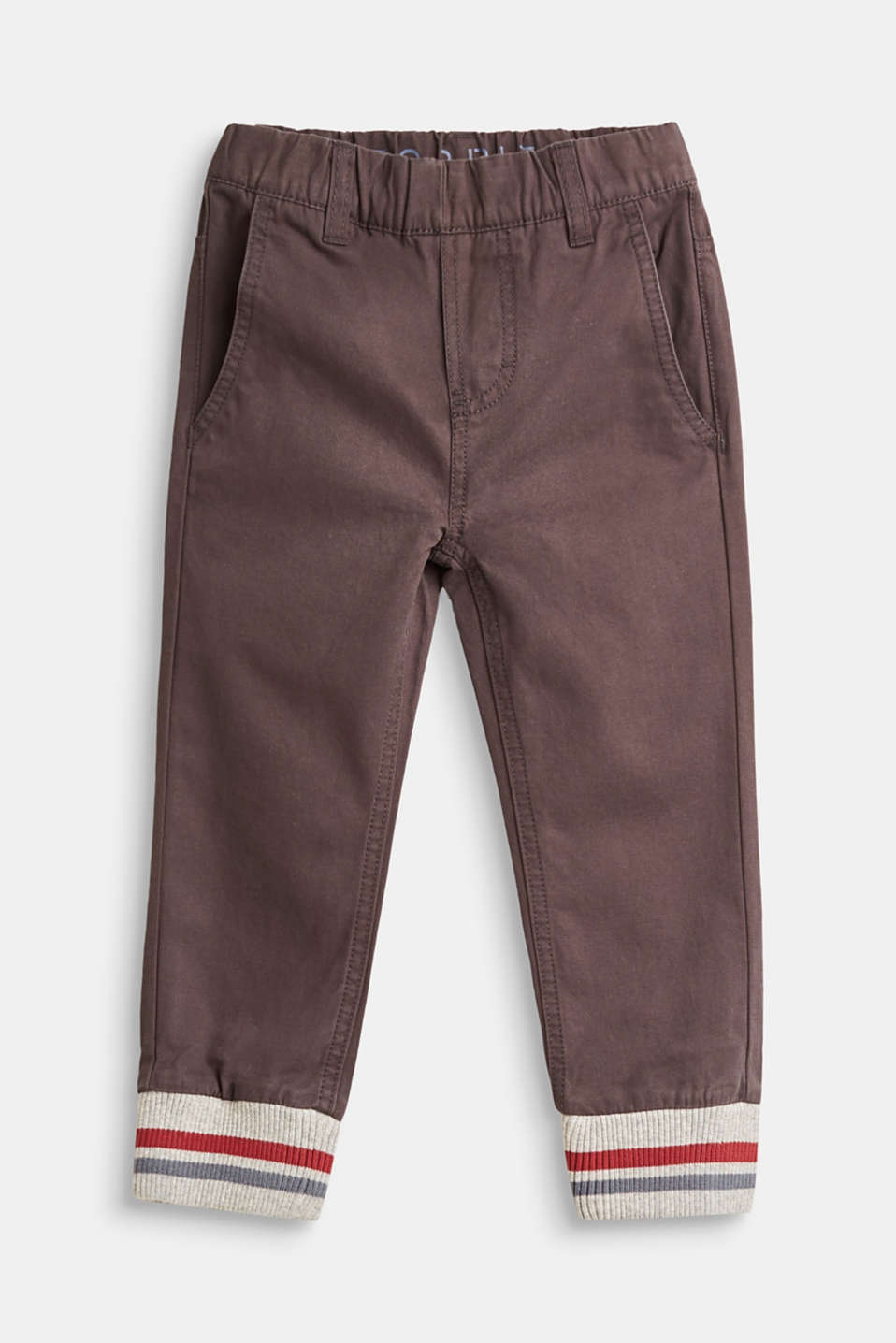 Esprit - Cotton trousers with rib knit cuffs