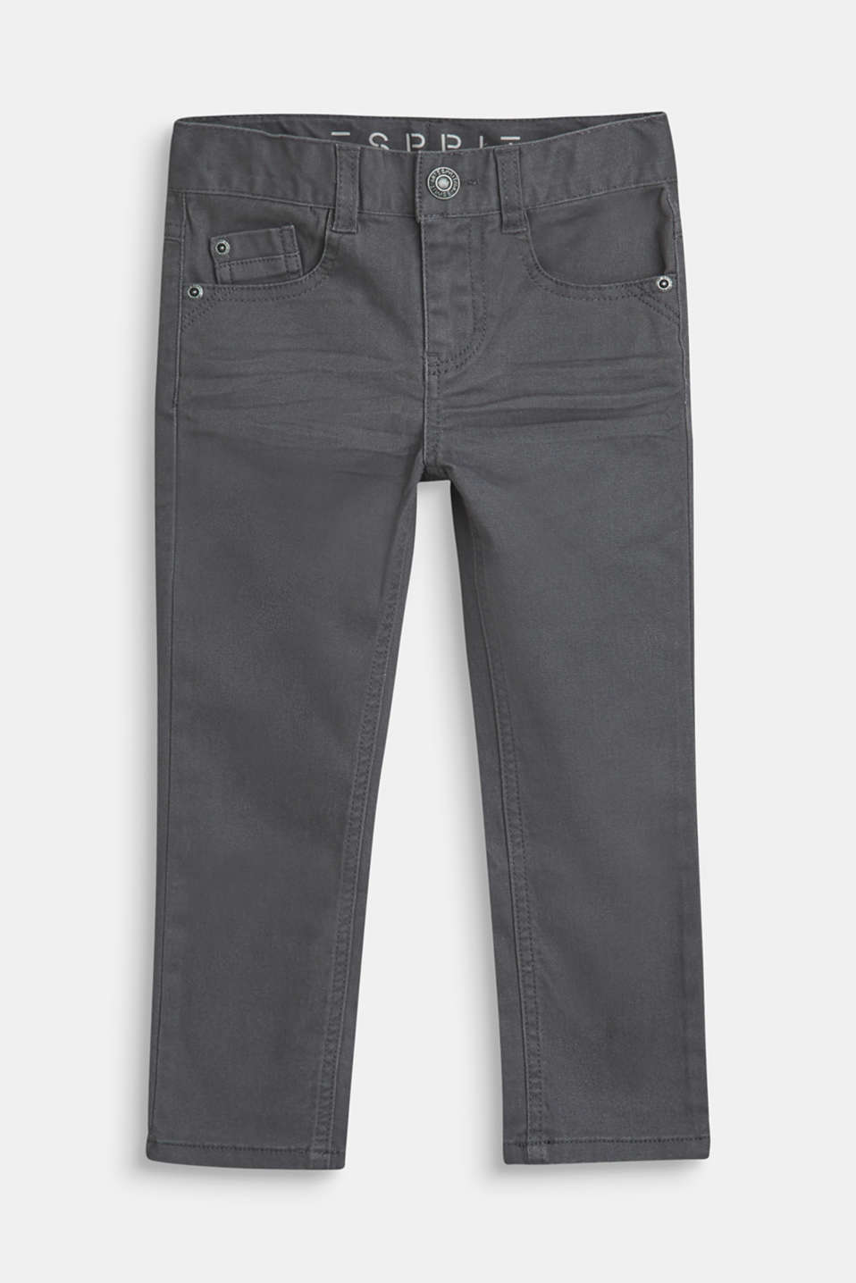 Esprit - Cotton stretch trousers with an adjustable waistband