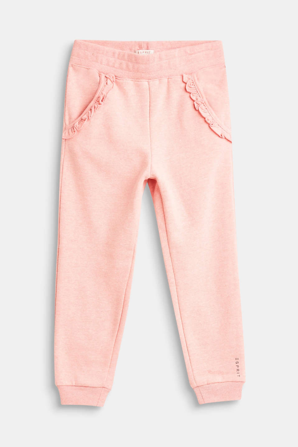 Esprit - Melange sweat tracksuit bottoms with frill detail pockets