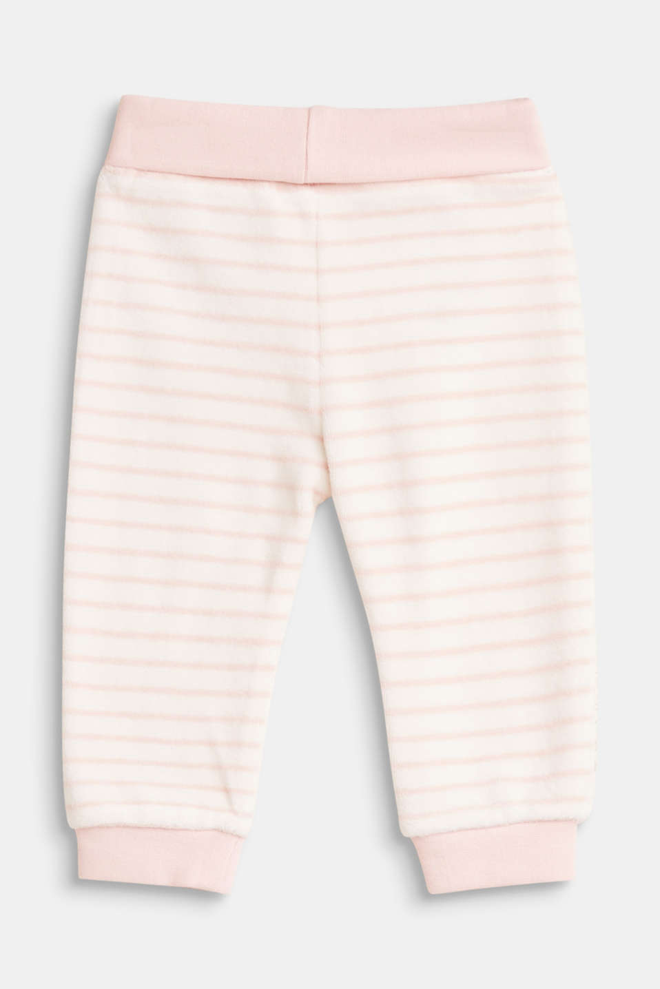 Striped velour trousers with organic cotton