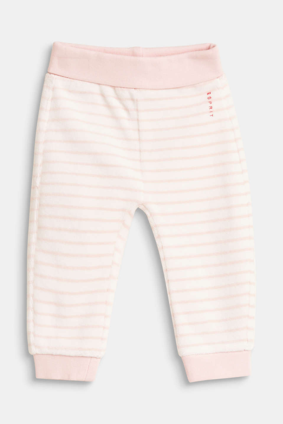 Esprit - Striped velour trousers with organic cotton