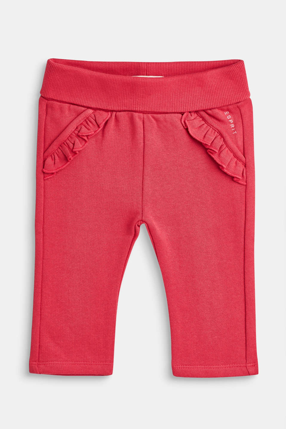 Esprit - Tracksuit bottoms with frills, 100% cotton