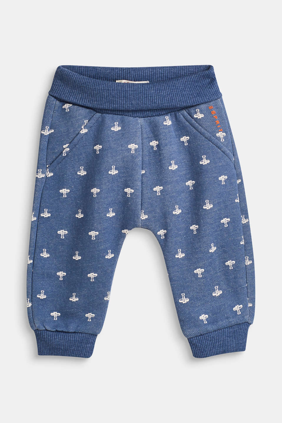 Esprit - Tracksuit bottoms with a print and a turn-down waistband