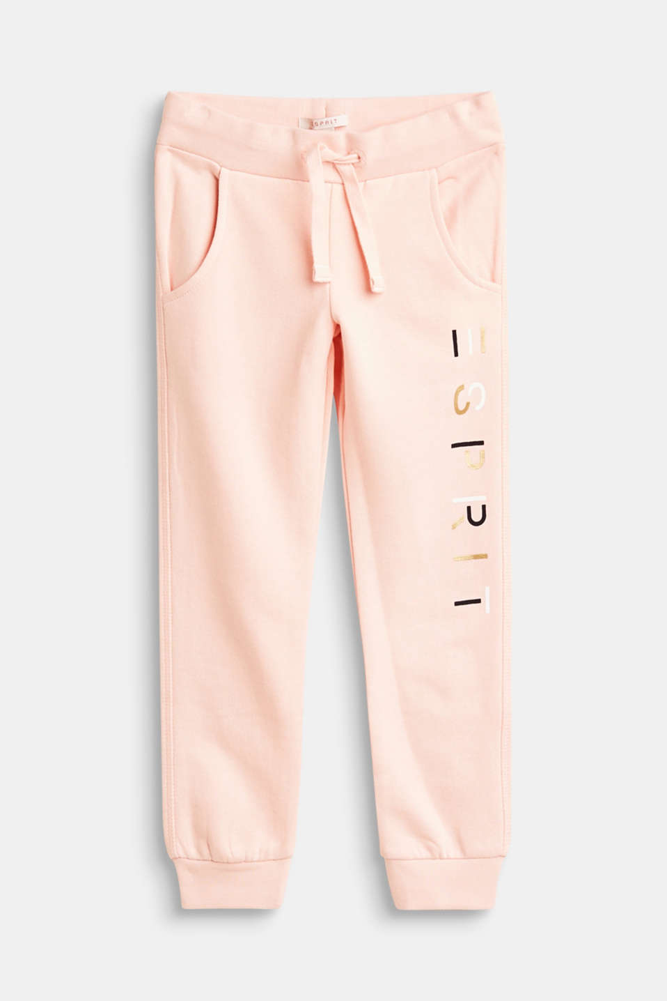 Esprit - Tracksuit bottoms with a shiny logo, 100% cotton