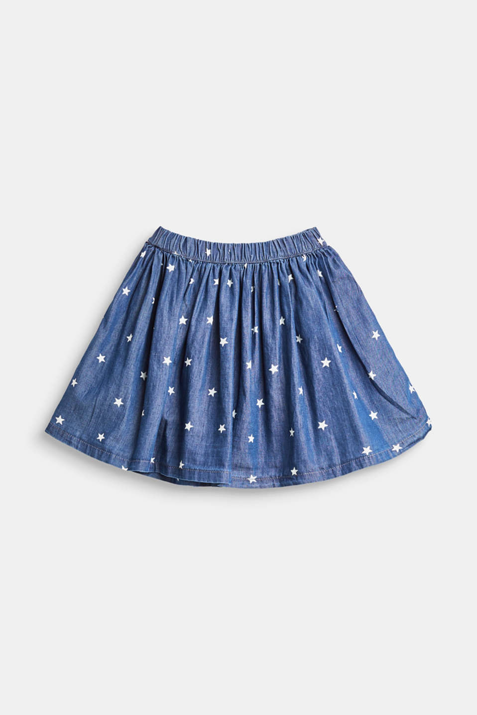 Denim skirt with a star print, 100% cotton