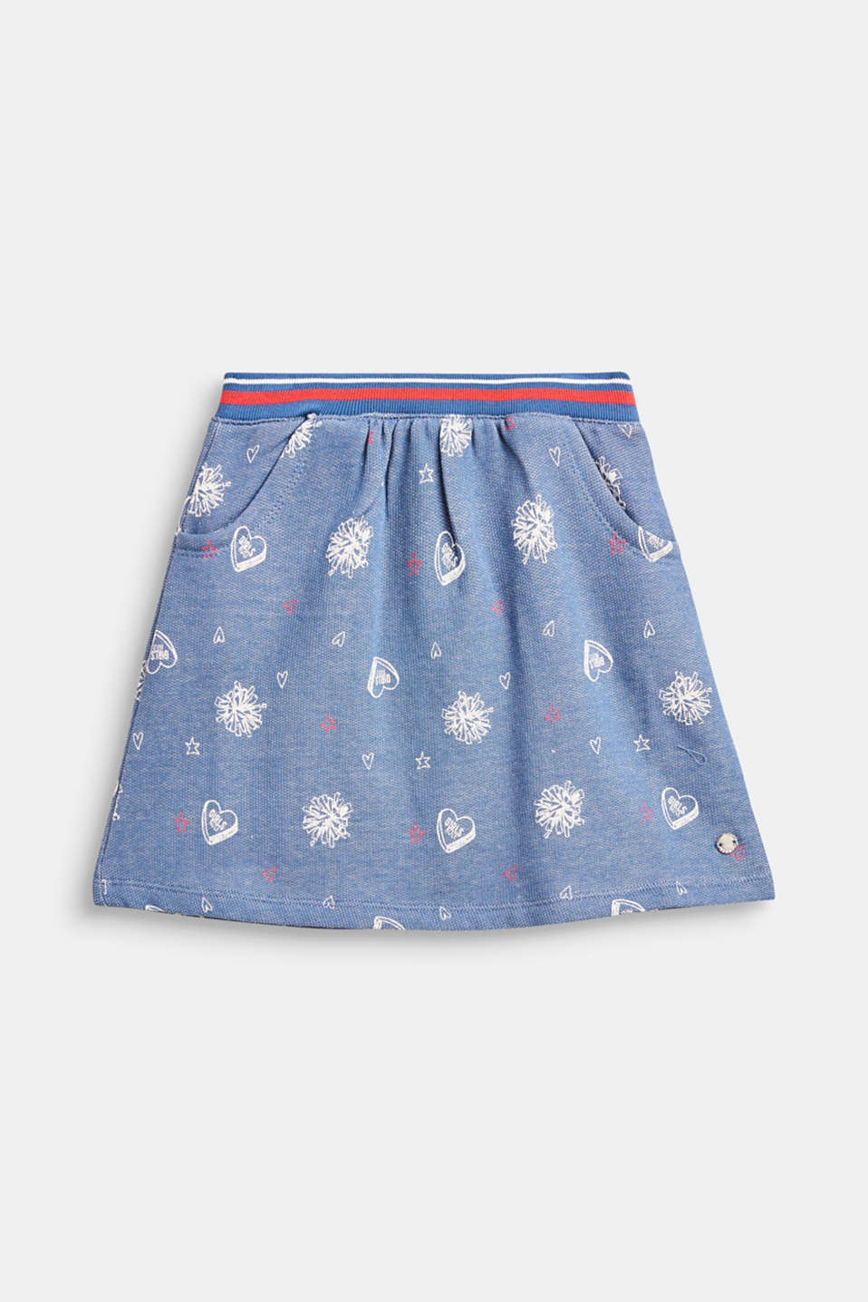 Esprit - Sweatshirt fabric skirt in a denim look, 100% cotton