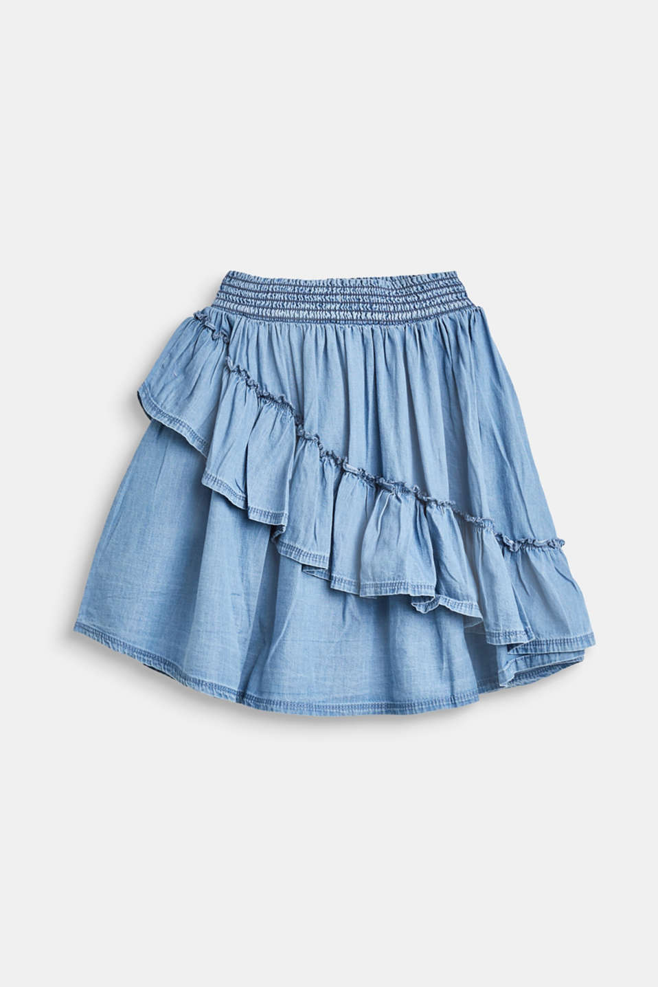 Esprit - Denim skirt with flounces, 100% cotton