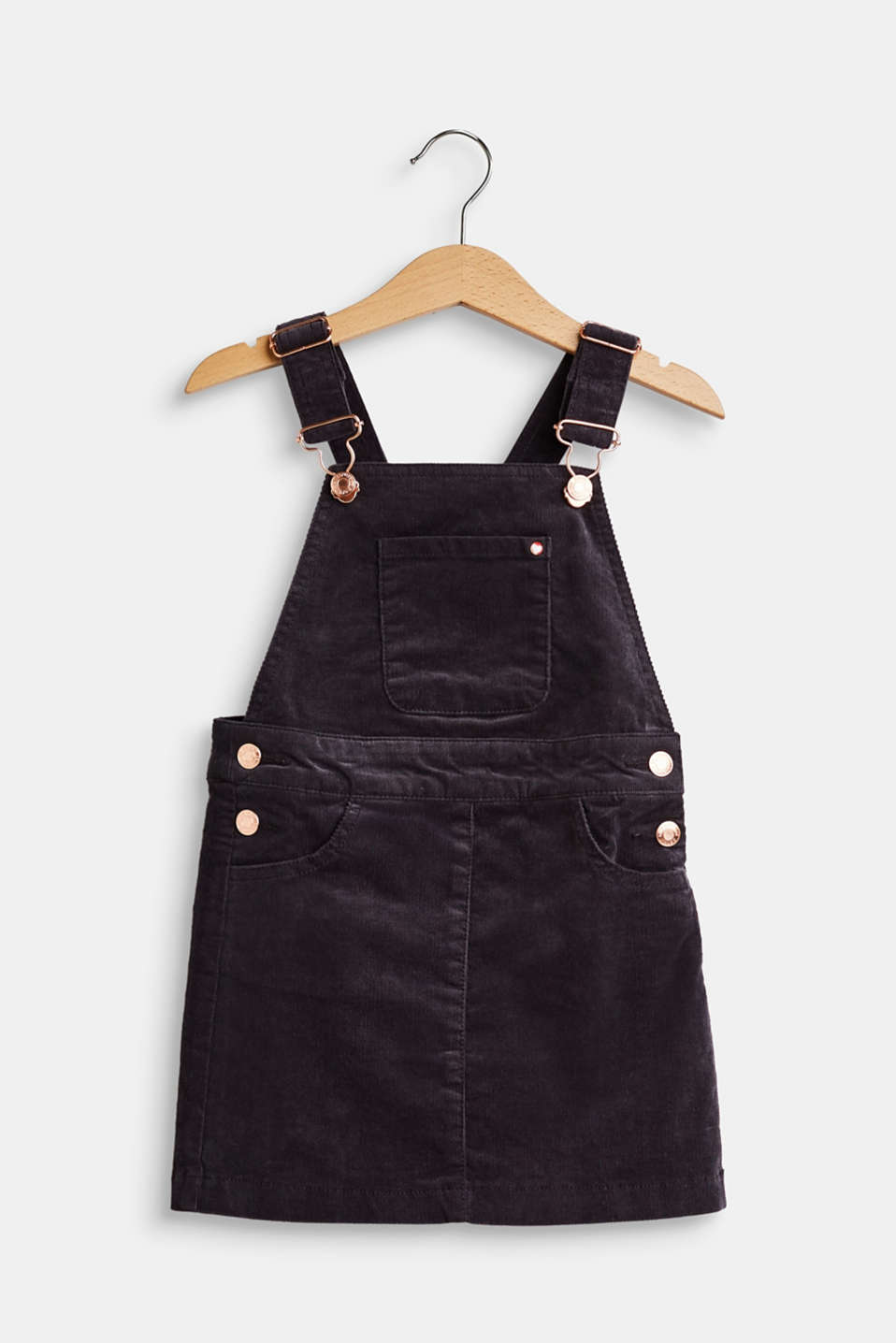 Esprit - Cotton corduroy dungaree skirt with stretch
