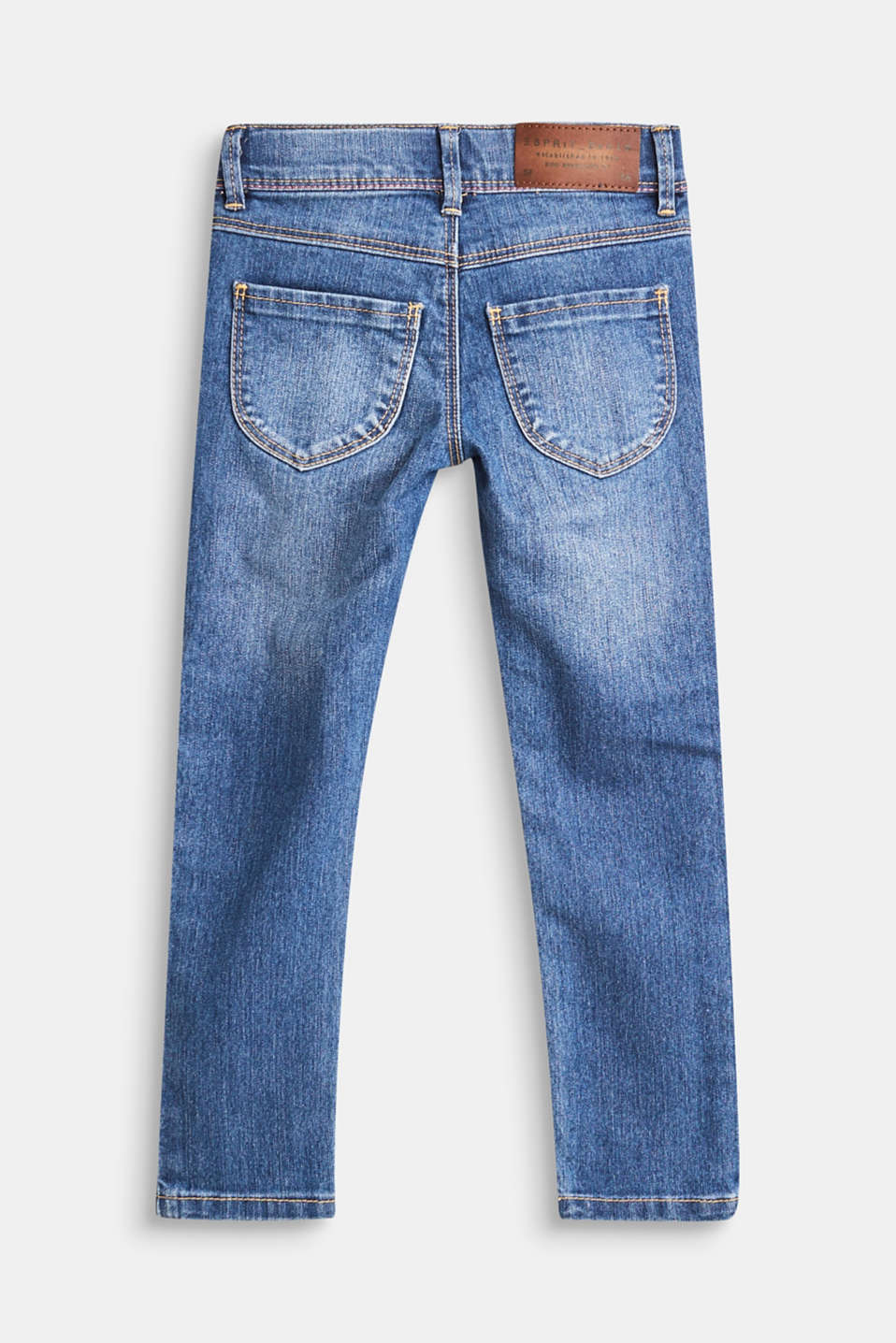 Stretch jeans with glittery pockets, adjustable waistband