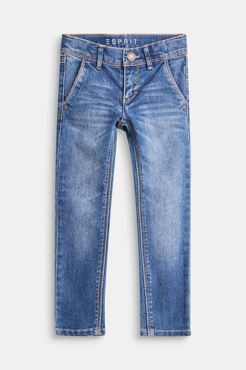 Esprit - Stretch jeans with glittery pockets, adjustable waistband