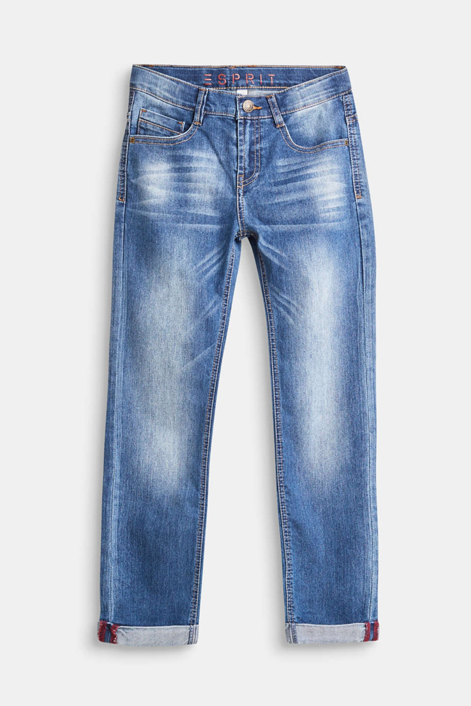 Esprit - Stretch jeans with turn-up hems, adjustable waist