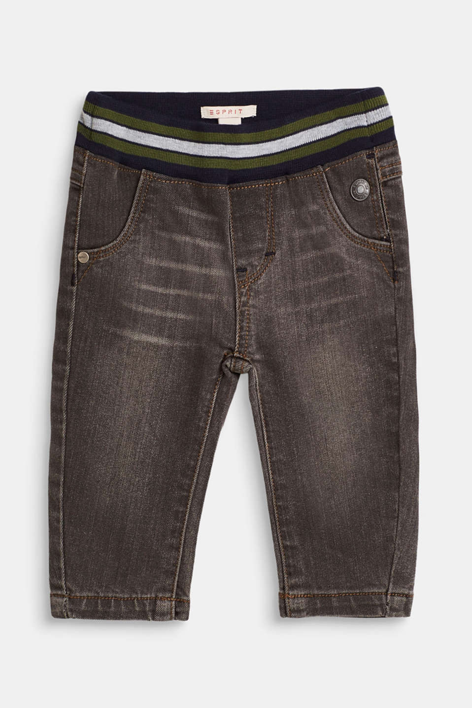 Esprit - Stretch jeans with a ribbed elasticated waistband
