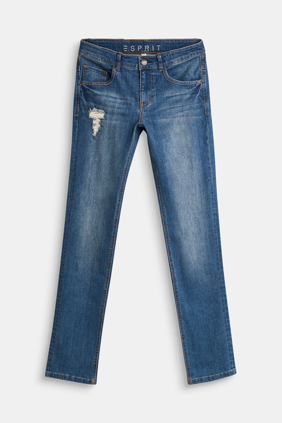 Esprit - Distressed stretch jeans with an adjustable waistband