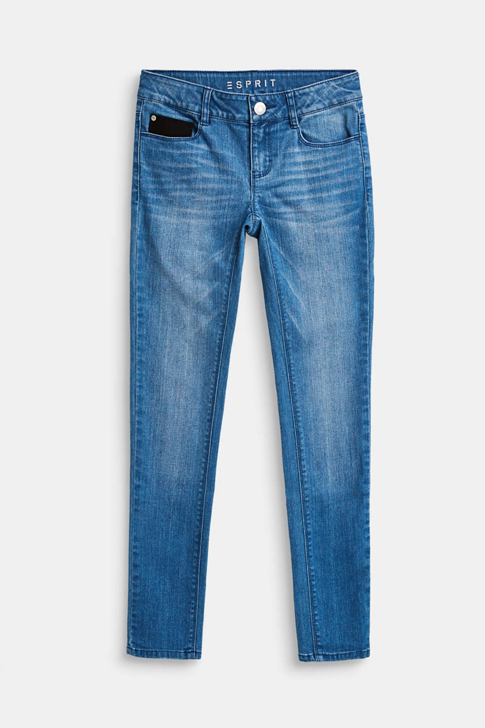 Esprit - Stretch jeans with a faux leather pocket