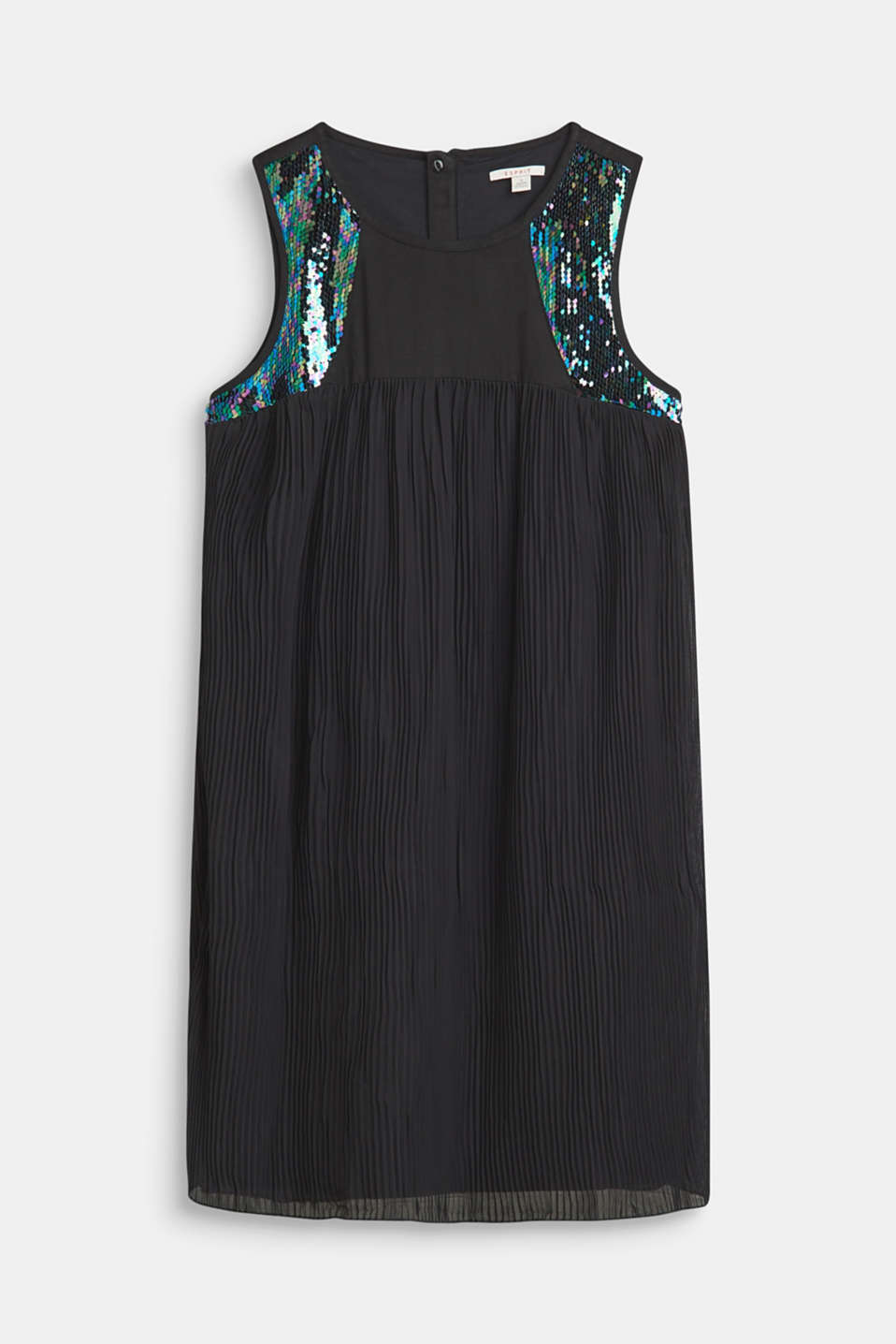 Esprit - Dress with accordion pleats and sequins