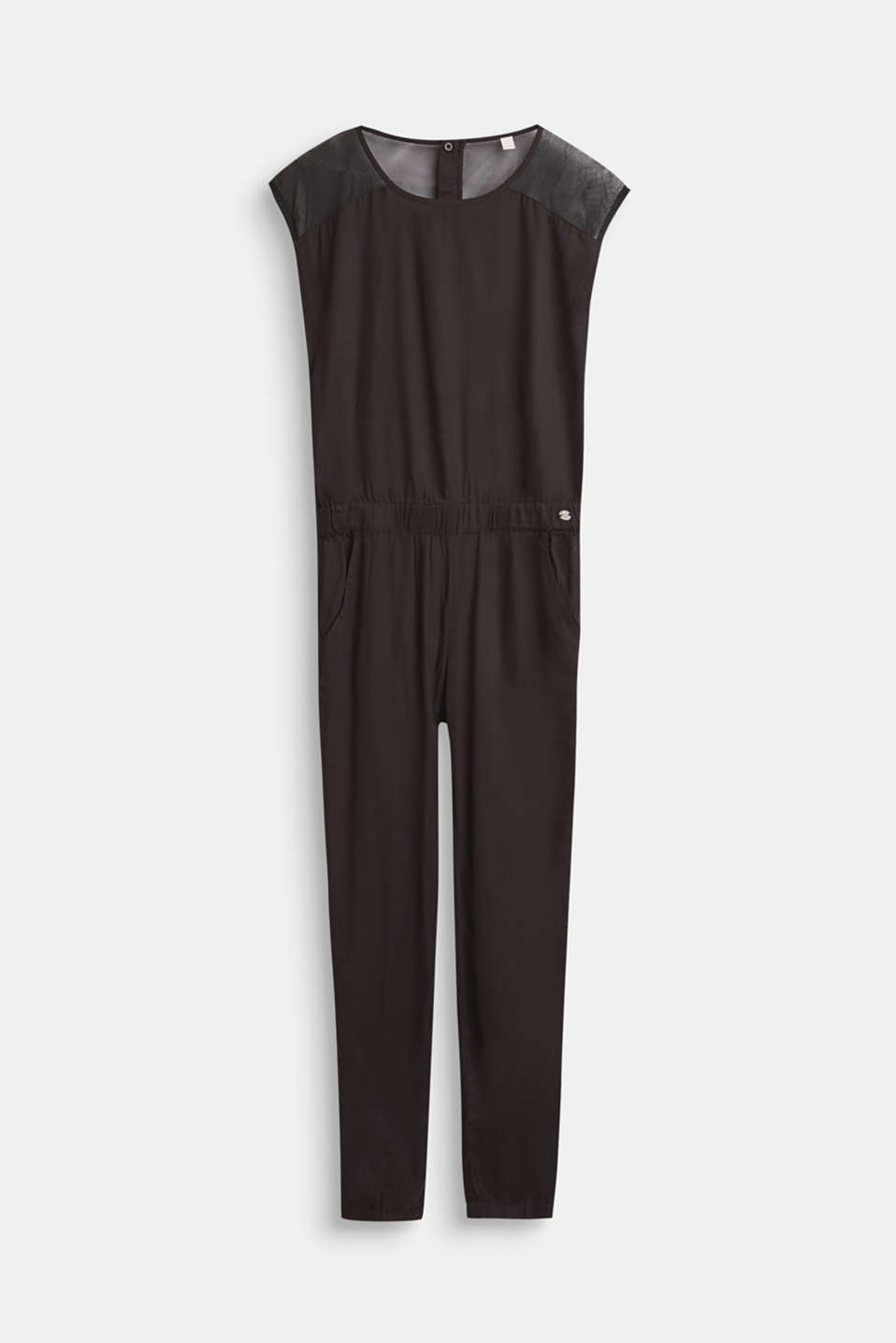 Esprit - Jumpsuit with sheer inserts