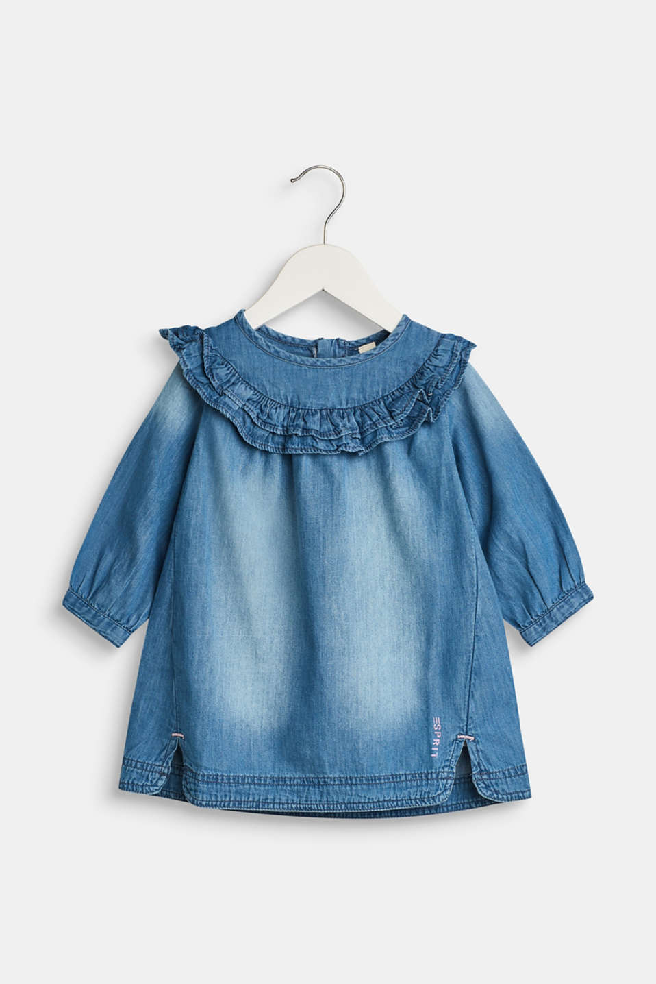 Esprit - Denim dress with a frilled collar, 100% cotton