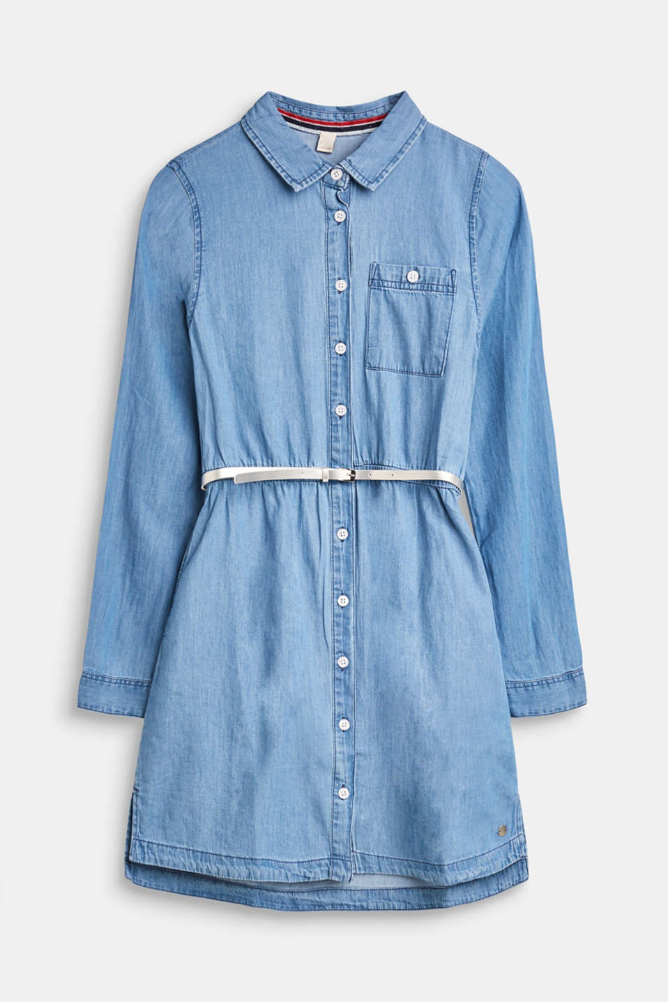Esprit - Denim dress with belt, 100% cotton