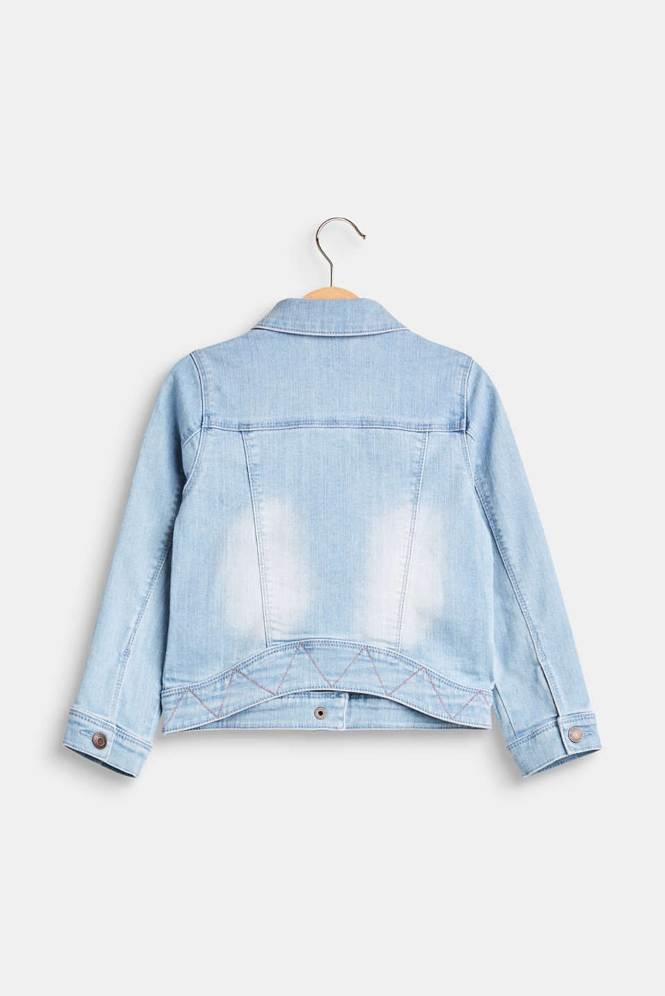 Denim jacket with appliqués, in blended cotton