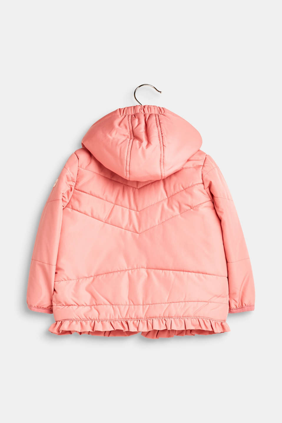 Quilted jacket with an adjustable hood and frill