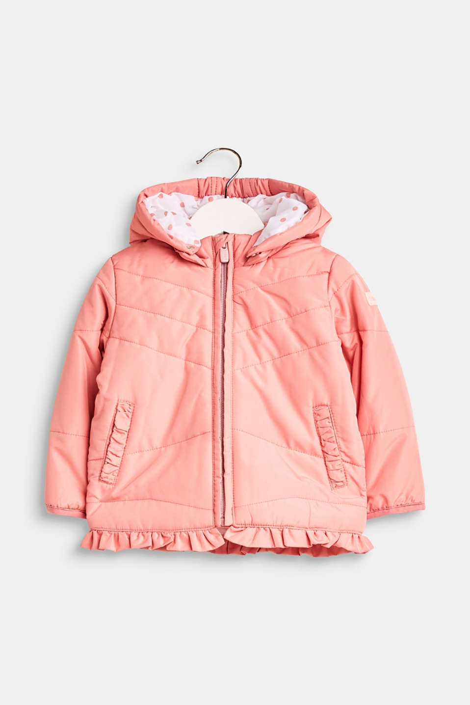Esprit - Quilted jacket with an adjustable hood and frill