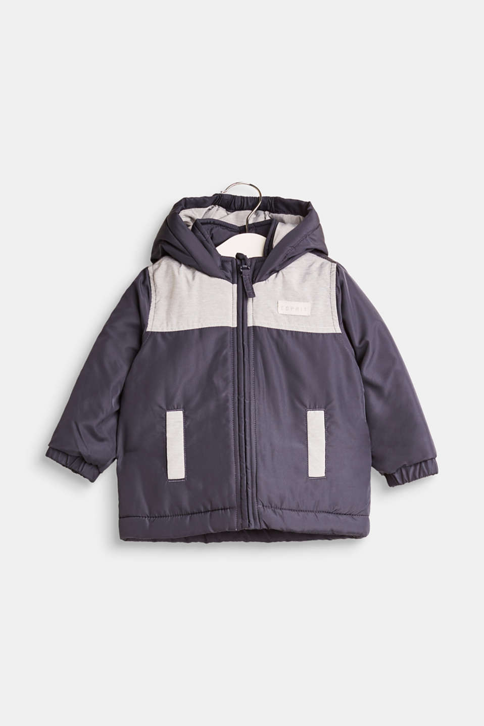 Esprit - Padded, hooded jacket with colour blocks