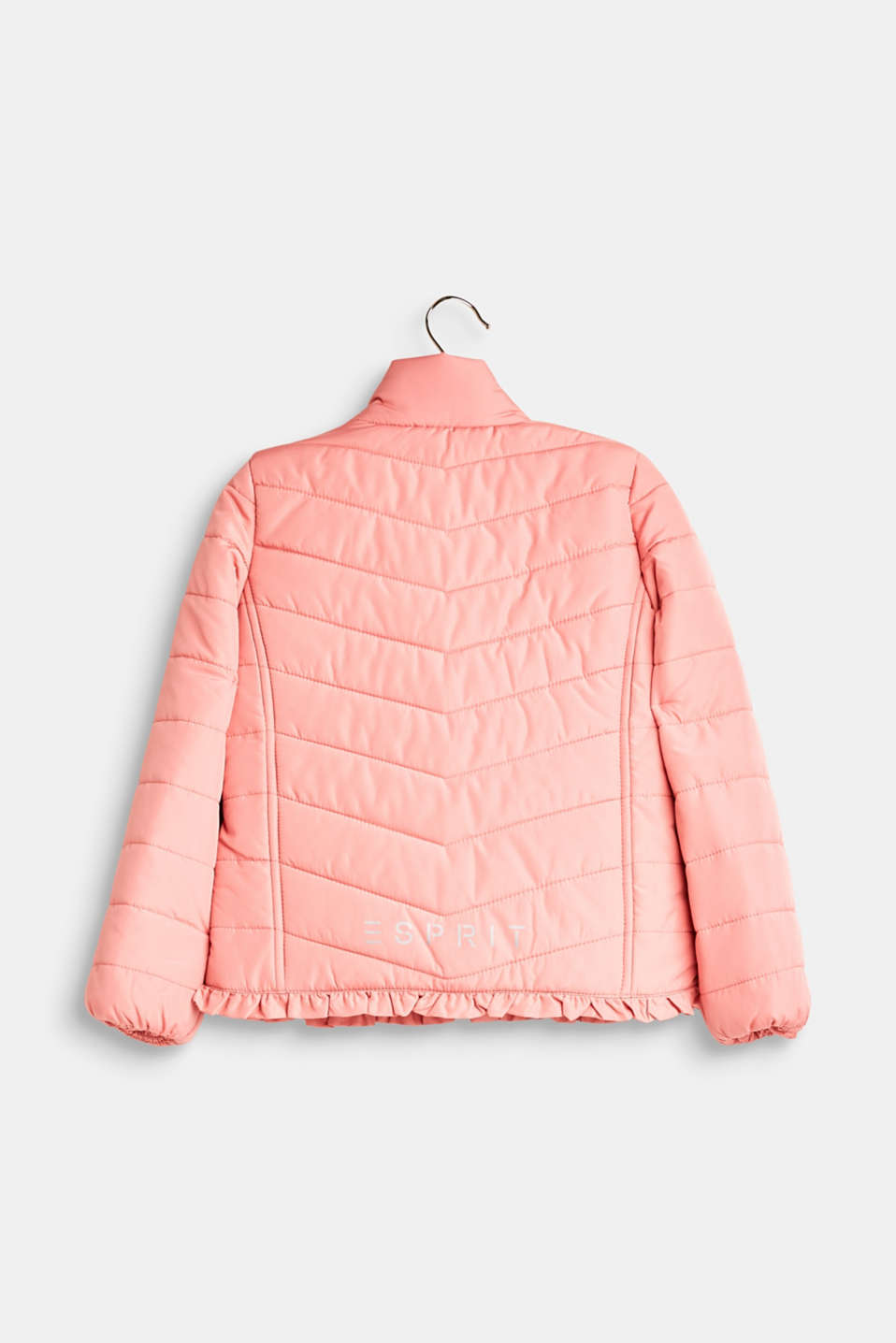 Quilted jacket with a frilled hem