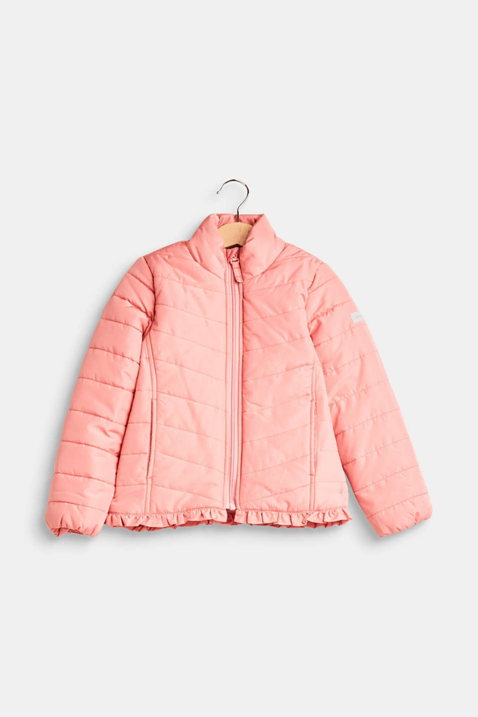Esprit - Quilted jacket with a frilled hem