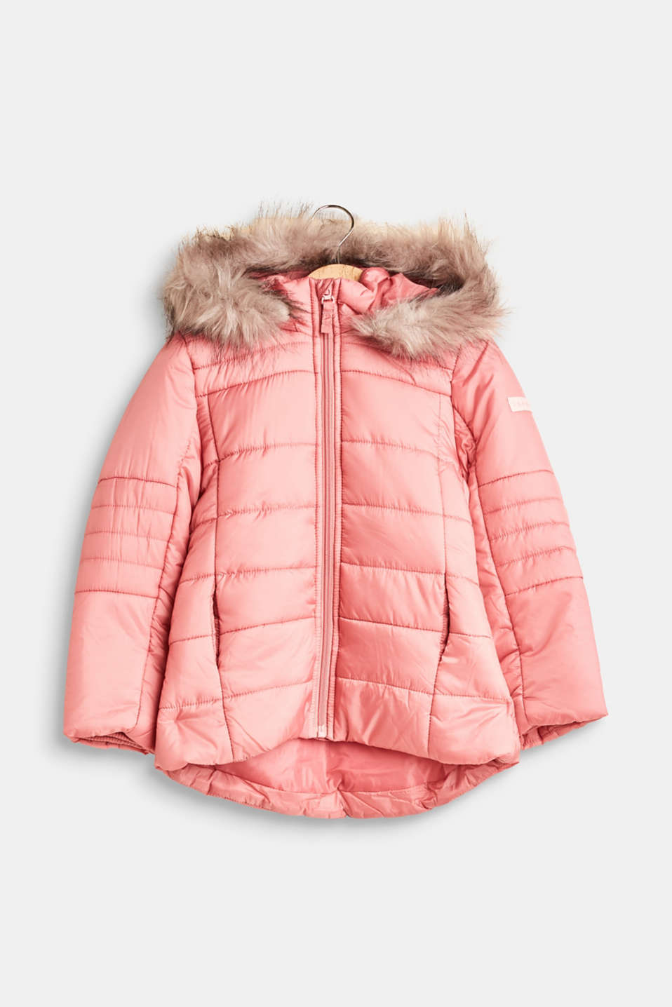 Esprit - Quilted jacket with an adjustable hood