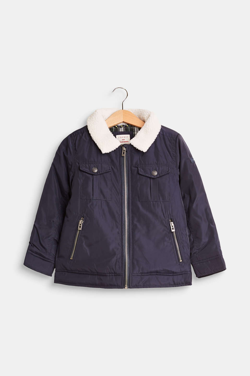 Esprit - Padded outdoor jacket with faux fur collar