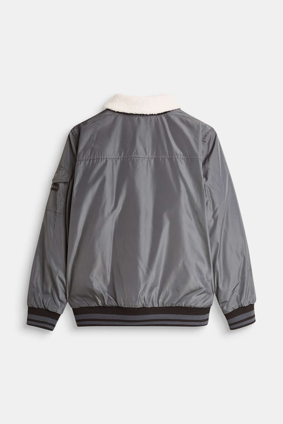 Padded bomber jacket with a faux fur collar