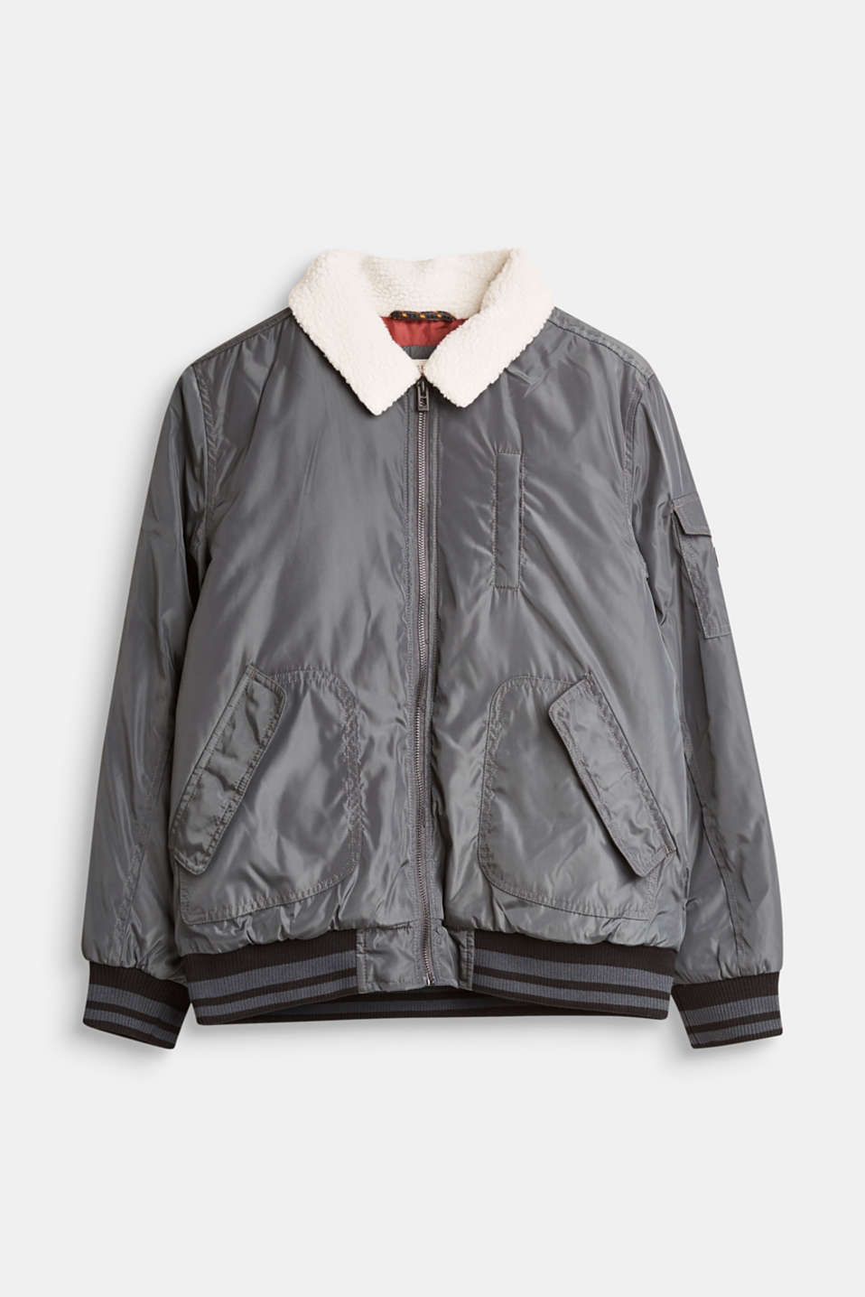 Esprit - Padded bomber jacket with a faux fur collar