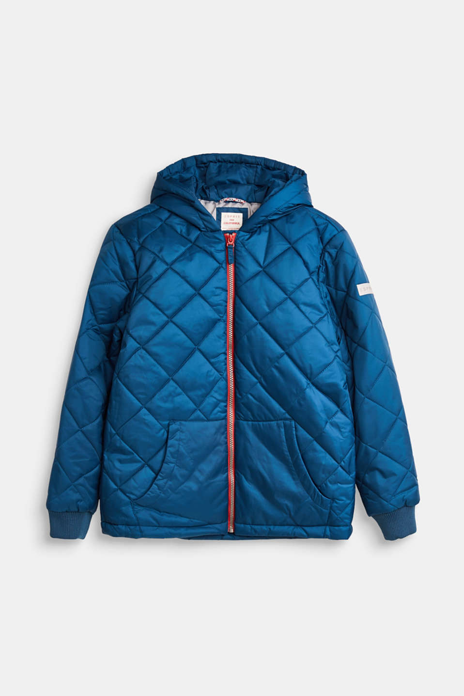 Esprit - Quilted jacket with a hood and contrasting zip