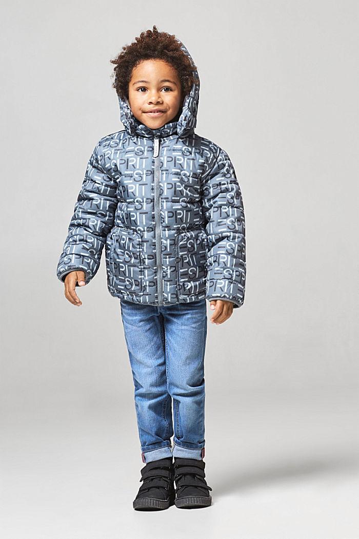 Gewatteerde jas met logo en een variabele capuchon, PEEBLE, detail image number 2
