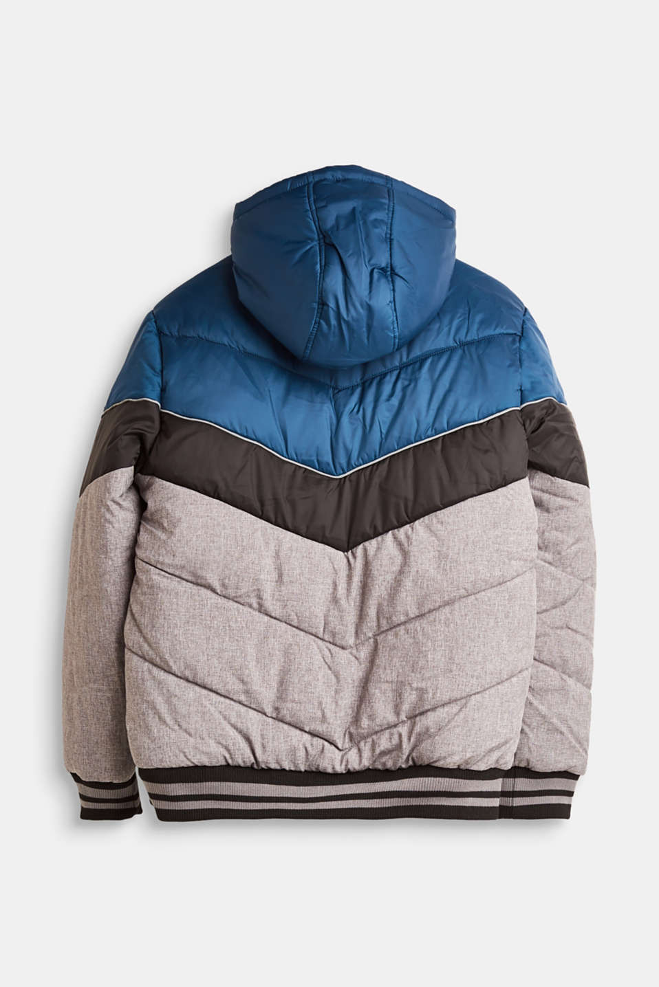 Padded, hooded jacket with colour blocks