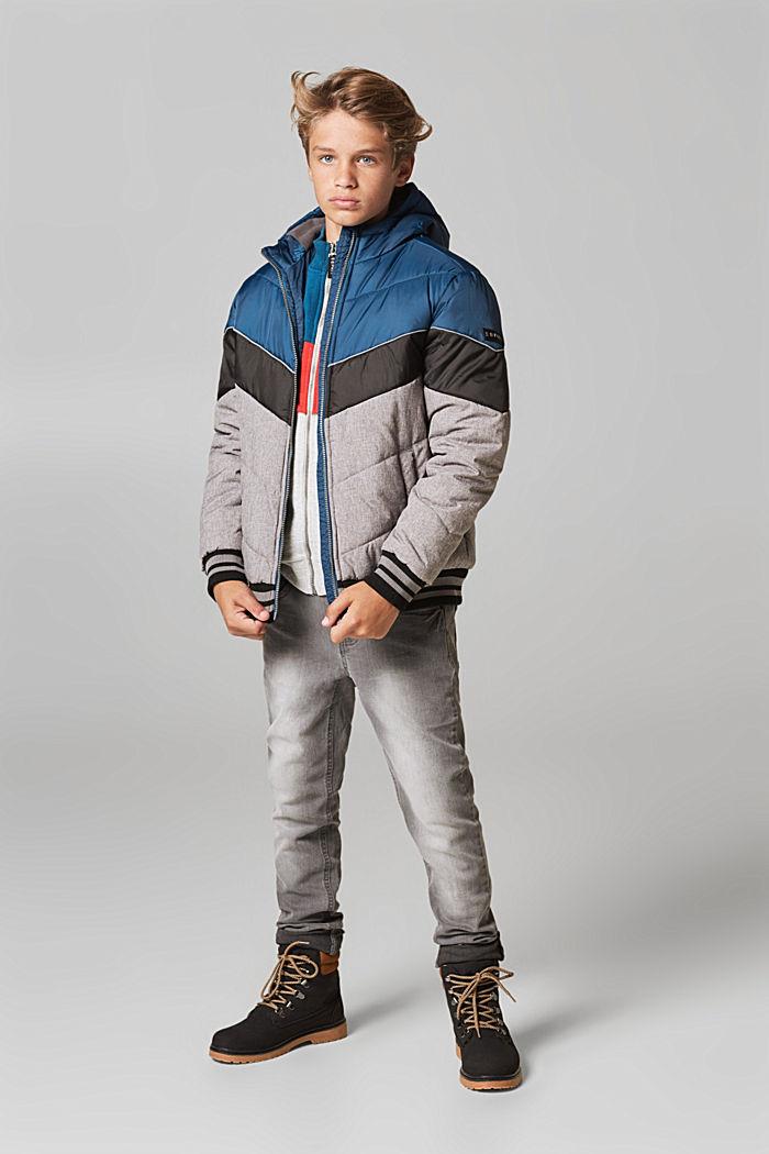 Wattierte Colorblock-Jacke mit Kapuze, LCDARK HEATHER G, detail image number 4