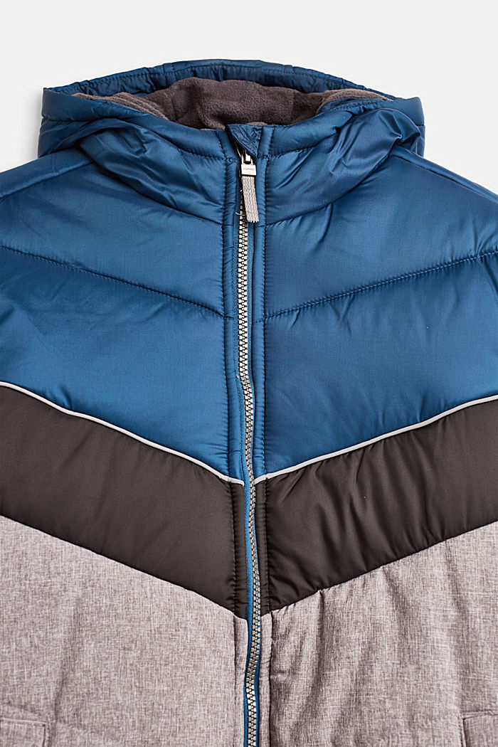 Wattierte Colorblock-Jacke mit Kapuze, LCDARK HEATHER G, detail image number 3
