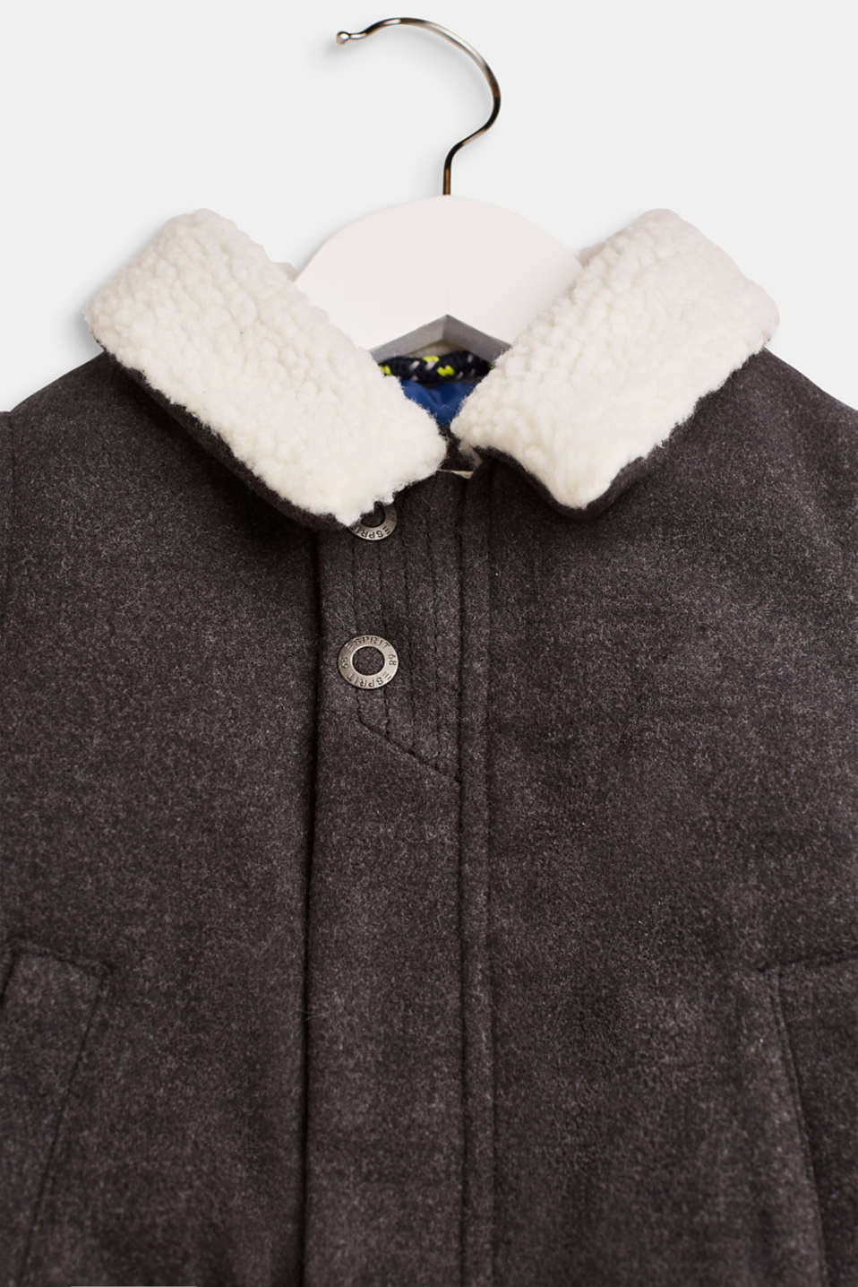 Outdoor jacket with a teddy fur collar, LCDARK HEATHER G, detail image number 3