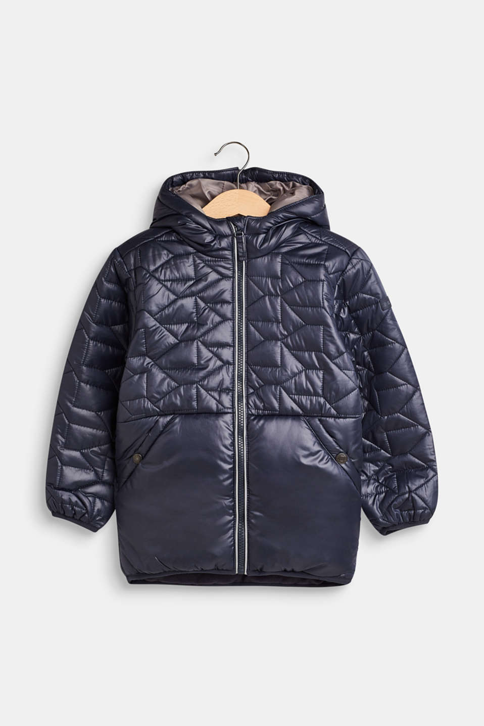 Esprit - Padded quilted jacket with fleece lining