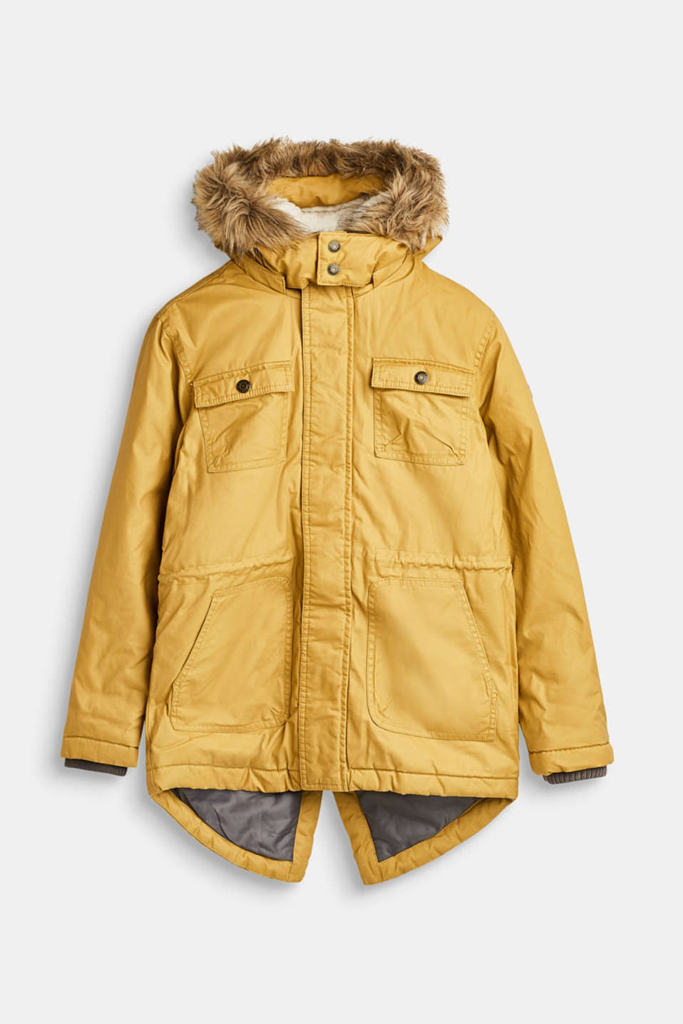 Esprit - Long parka with an adjustable hood